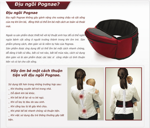 Địu ngồi em bé Pognae thanh lý 13