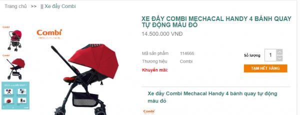 Xe đẩy em bé Combi Mechacal Handy 4cas giá tốt 2