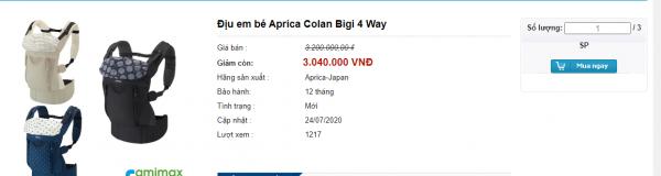 Địu em bé Aprica Colan Bigi 4 tư thế thanh lý màu ghi 2